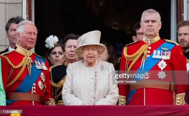 Prince Charles, Prince of Wales, Queen Elizabeth II and Prince Andrew, Duke of York appear on the balcony during Trooping The Colour, the Queen's...