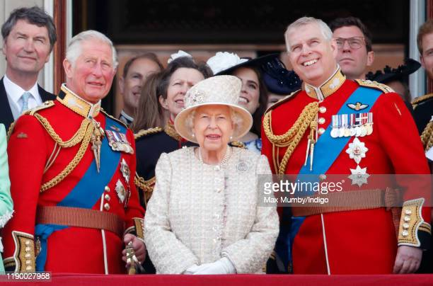 Prince Charles, Prince of Wales, Queen Elizabeth II and Prince Andrew, Duke of York watch a flypast from the balcony of Buckingham Palace during...