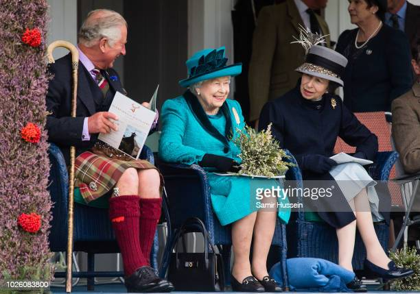Prince Charles Prince of Wales Queen Elizabeth II and Princess Anne Princes Royal attend the 2018 Braemar Highland Gathering at The Princess Royal...