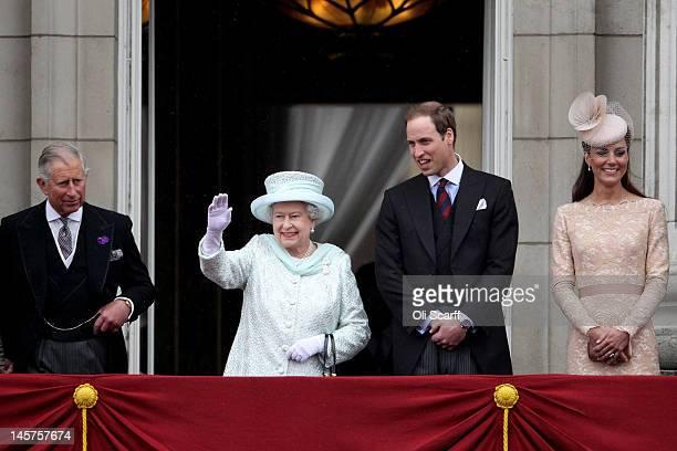 Prince Charles Prince of Wales Queen Elizabeth II Prince William Duke of Cambridge and Catherine Duchess of Cambridge on the balcony of Buckingham...