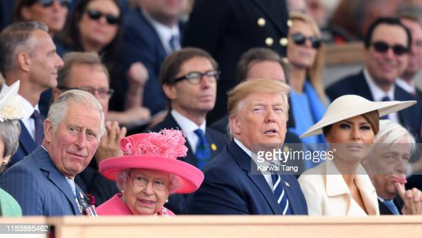 Prince Charles Prince of Wales Queen Elizabeth II US President Donald Trump and US First Lady Melania Trump attend the DDay75 National Commemorative...