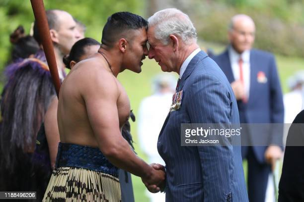 Prince Charles, Prince of Wales receives a Hongi, traditional Maori greeting, as he attends the Ceremony of Welcome, Government House on November 19,...