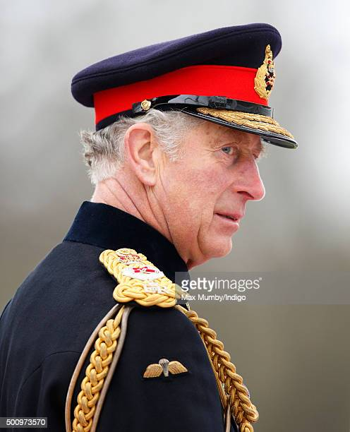 Prince Charles Prince of Wales represents Queen Elizabeth II during the Sovereign's Parade at the Royal Military Academy Sandhurst on December 11...
