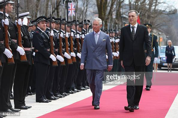 Prince Charles, Prince of Wales, reviews a Montenegran ...