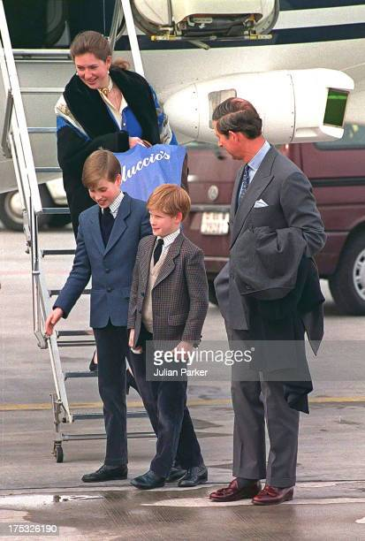 Prince Charles Prince of Wales Royal Nanny Tiggy LeggeBourke Prince William and Prince Harry arrive at Zurich Airport to begin a sking holiday in...