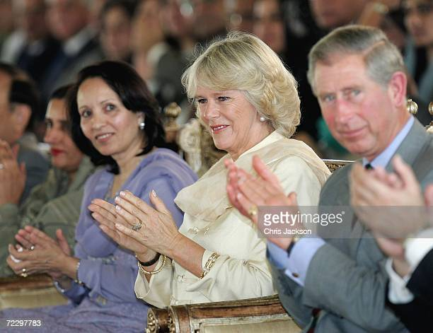 Prince Charles Prince of Wales Rukhsana Aziz and Camilla Duchess of Cornwall clap whilst visiting a Youth Business International Event at the Prime...