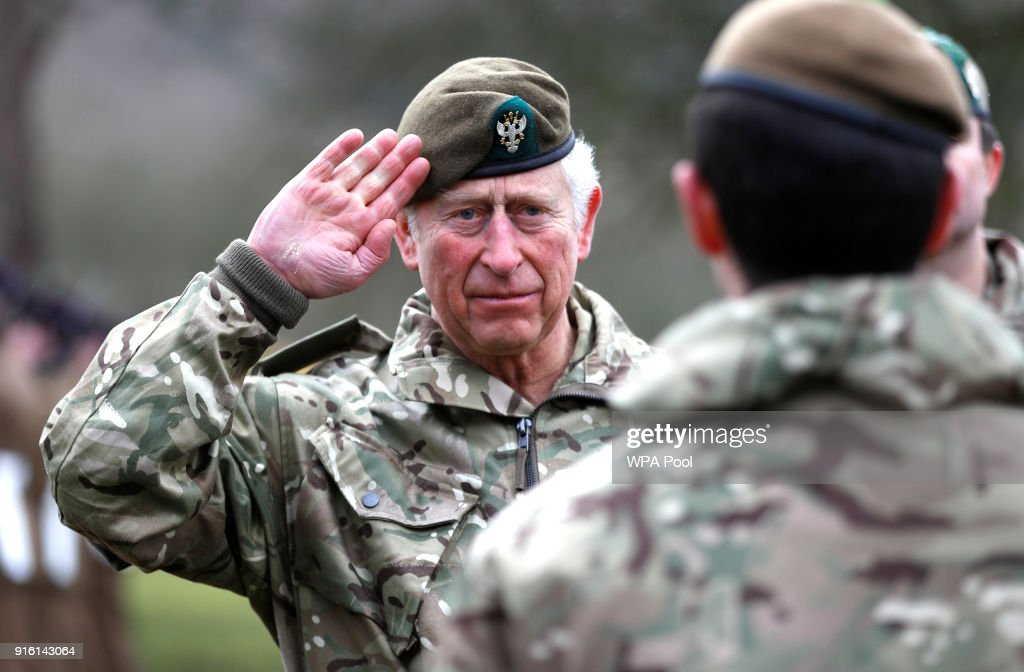 Prince Charles, Prince of Wales salutes the troops as he visits 1st Battalion The Mercian Regiment to mark ten years as Colonel-in-Chief and forty years since becoming Colonel-in-Chief of The Cheshire Regiment at Bulford Camp on February 9, 2018 in Salisbury, England.