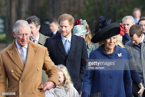 Prince Charles Prince of Wales Savannah Phillips Prince Harry and Camilla Duchess of Cornwall attend a Christmas Day church service at Sandringham on...