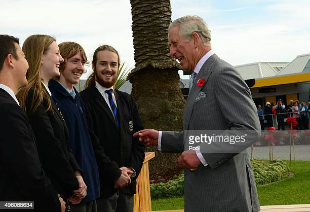 Prince Charles Prince of Wales shares a joke with Buller High School students on November 7 2015 in Westport New Zealand The Royal couple are on a 12...