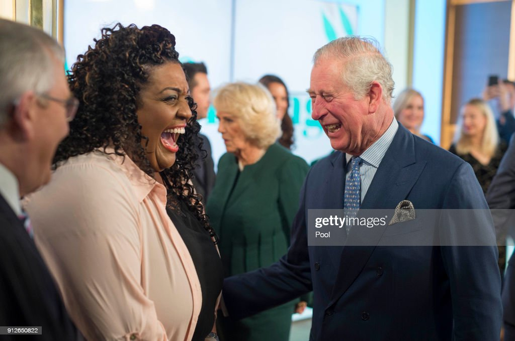 Prince Charles, Prince of Wales shares a joke with presenter Alison Hammond during a visit to ITV's 'This Morning' to celebrate the 90th anniversary of the Royal Television Society at London Television Centre on January 31, 2018 in London, United Kingdom.