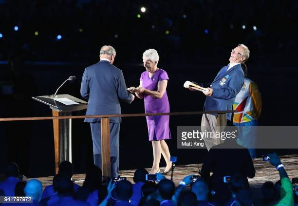 Prince Charles Prince of Wales shares a joke with President of the Commonwealth Games Federation Louise Martin and Chairman of Gold Coast 2018...