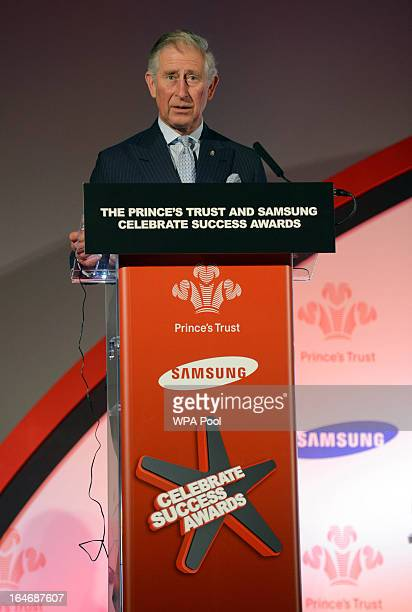 Prince Charles Prince of Wales speaks at The Prince's Trust Samsung Celebrate Success Awards at Odeon Leicester Square on March 26 2013 in London...