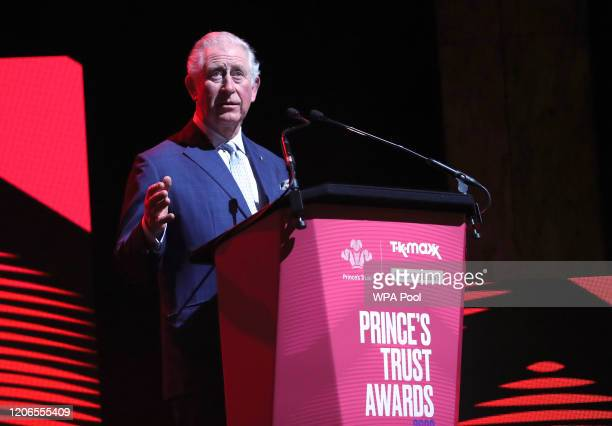 Prince Charles, Prince of Wales speaks on stage at the Prince's Trust And TK Maxx & Homesense Awards at London Palladium on March 11, 2020 in London,...