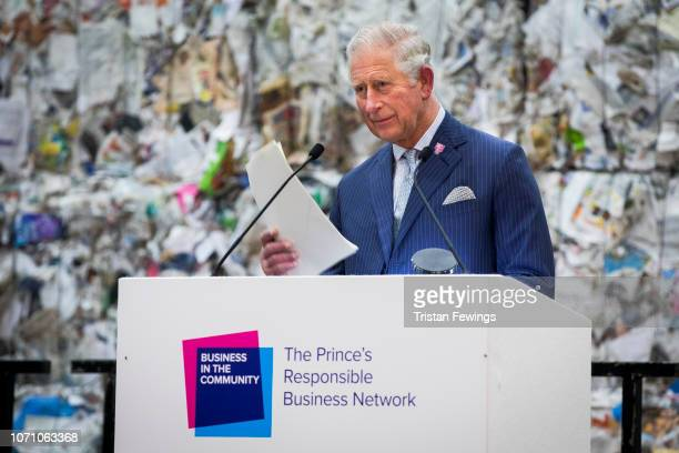 Prince Charles Prince of Wales speaks on stage during a WasteToWealth Summit at Southwark Integrated Waste Management Facility on November 22 2018 in...
