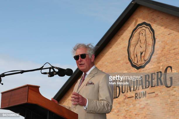 Prince Charles Prince of Wales speaks to a large crowd after taking a tour of the Bundaberg Rum Distillery on April 6 2018 in Bundaberg Australia The...