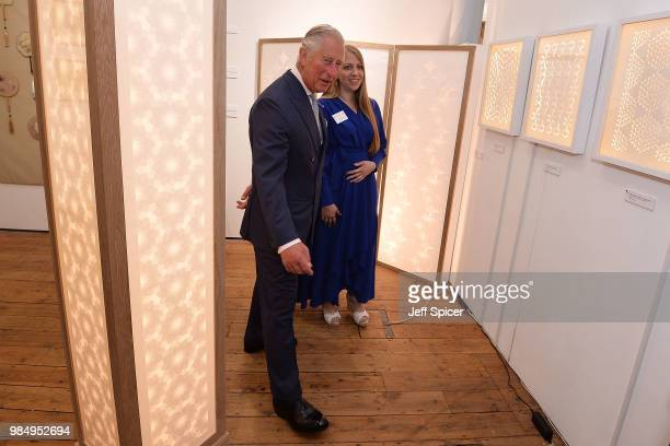 Prince Charles Prince of Wales speaks to artist Jennifer Jackson as he attends The Prince's Foundation School of Traditional Arts degree show in...