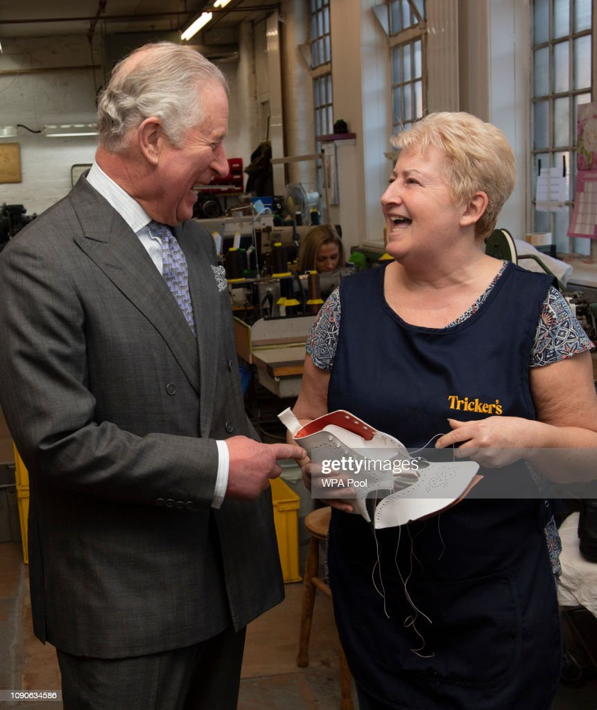 GBR: Prince Charles, Prince of Wales Visits Shoemakers Tricker's
