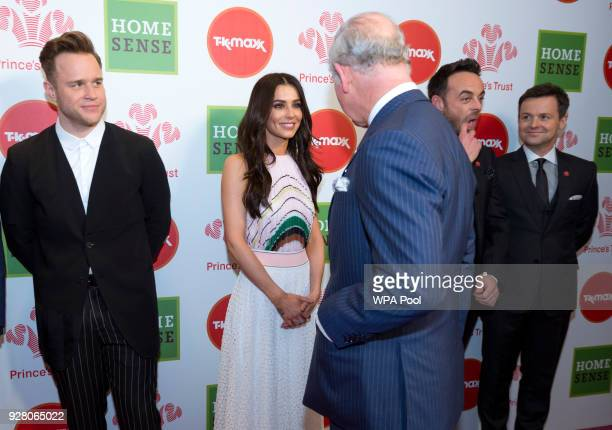 Prince Charles Prince of Wales speaks to Celebrity Trust Ambassador Cheryl as Ant and Dec and Olly Murs look on at The Prince's Trust Awards at The...