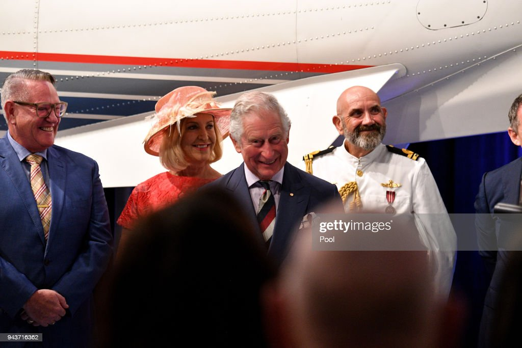 Prince Charles, Prince of Wales speaks to member of the community during a reception at the Royal Flying Doctors Service Tourist Facility in Darwin on April 9, 2018 in Darwin, Australia. The Prince of Wales and Duchess of Cornwall are on a seven-day tour of Australia, visiting Queensland and the Northern Territory.
