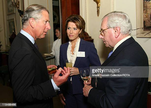 HRH Prince Charles Prince of Wales speaks to Natasha Kaplinsky and David Starkey during a reception for the Royal Television Society at Clarence...