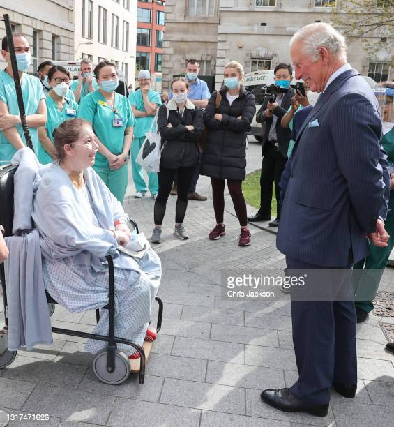 Prince Charles, Prince of Wales speaks with a patient during a visit to St Bartholomew's Hospital, ahead of International Nurses Day at St...