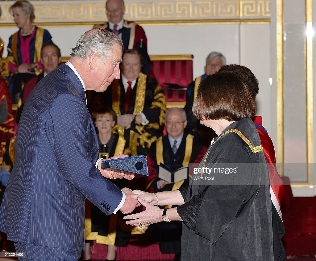 Prince Charles, Prince of Wales speaks with Di Batchelor of Abingdon and Witney College, during the presentation of The Queen's Anniversary Prizes for higher and further education, at a ceremony in Buckingham Palace on February 25, 2016 in London, England.