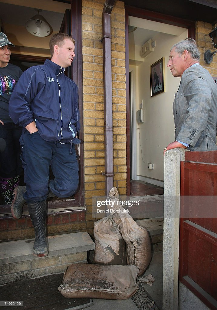 Prince Of Wales Visits Flood Victims : News Photo