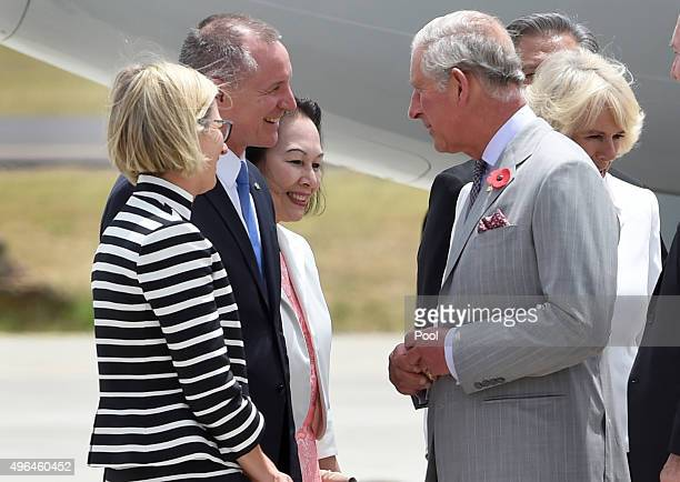 Prince Charles Prince of Wales speaks with Premier of South Australia Jay Weatherill as he and Camilla Duchess of Cornwall arrive for their visit to...