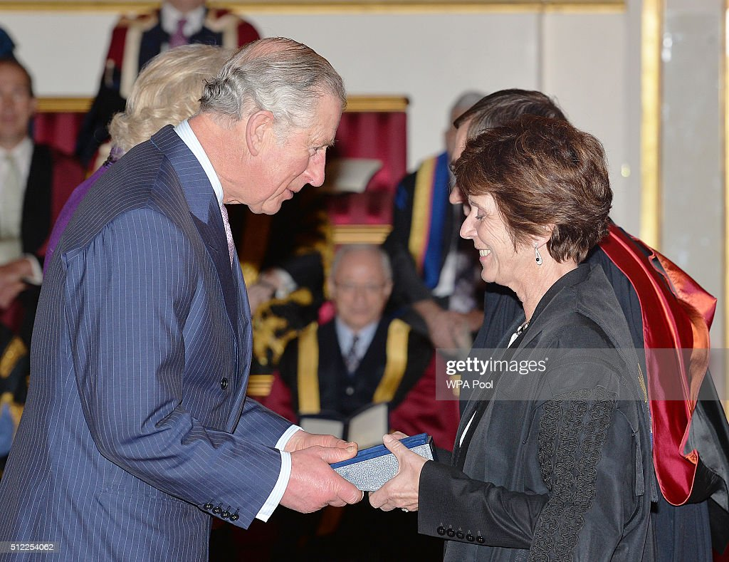 Prince Charles, Prince of Wales speaks with Professor Louise Richardson of Oxford University, during the presentation of The Queen's Anniversary Prizes for higher and further education, at a ceremony in Buckingham Palace on February 25, 2016 in London, England.