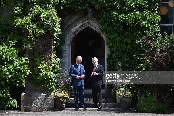 Prince Charles Prince of Wales speaks with Professor Patrick O'Shea President of UCC during a visit to University College Cork on June 14 2018 in...