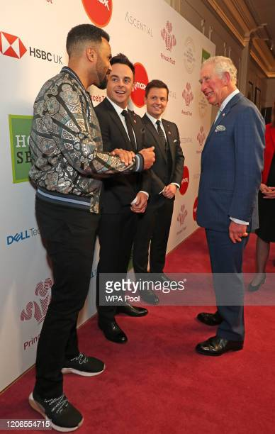 Prince Charles Prince of Wales speaks with singer Craig David and television presenters Ant McPartlin and Declan Donnelly as he attends the Prince's...
