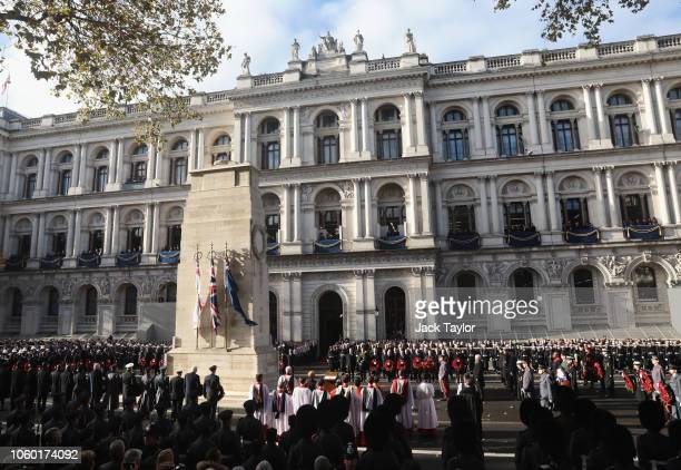 Prince Charles, Prince of Wales stands at The Cenotaph with German President Frank-Walter Steinmeier during the annual Remembrance Sunday memorial at...