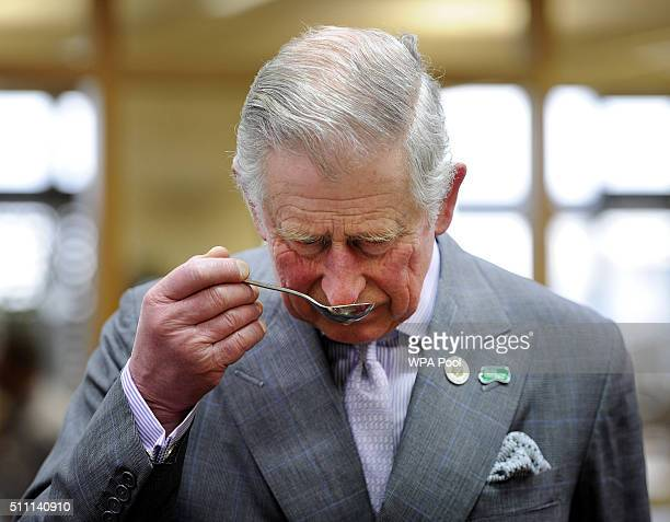 Prince Charles Prince of Wales takes part in a tea tasting during their visit to the tasting rooms and cookery school at Taylors of Harrogate as part...