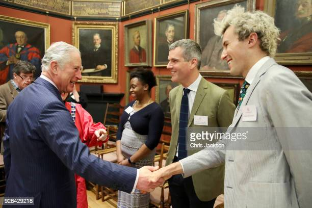 Prince Charles Prince of Wales talks to Architectural Designer Ben Pentreath and Charlie McCormormick visits the Art Worker's Guild on March 7 2018...