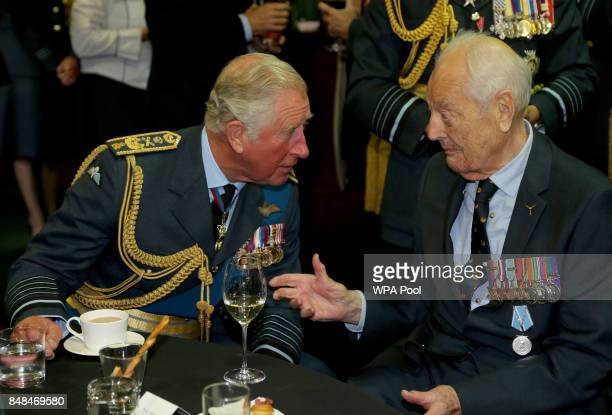 Prince Charles Prince of Wales talks to Battle of Britain veteran Wing Commander Tim Elkington during a reception following a service marking the...