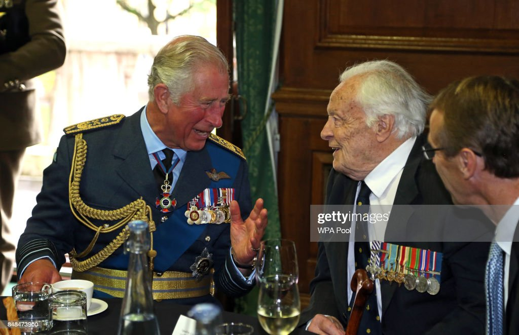 Prince Charles, Prince of Wales talks to Battle of Britain veteran Squadron Leader Geoffrey Wellum during a reception following a service marking the 77th anniversary of the Battle of Britain at Westminster Abbey on September 17, 2017 in London, England. The annual service remembers the pilots and aircrew of the Royal Air Force who lost their lives in the 1940 Battle of Britain during World War II.