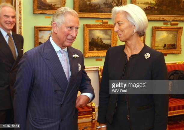 Prince Charles Prince of Wales talks to Christine Lagarde Managing Director of the International Monetary fund before the start of the Inclusive...