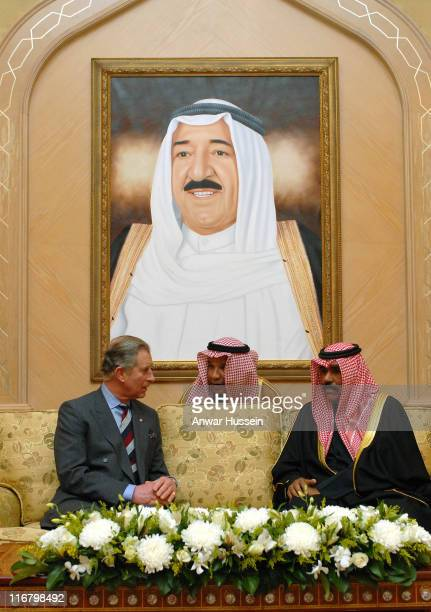 Prince Charles Prince of Wales talks to Crown Prince Sheikh Nawaf Al Ahmad AlJabal Al Sabah with the aid of an interpreter after arriving at Kuwait...