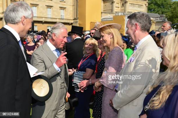 Prince Charles Prince of Wales talks to guests as they attend The Prince of Wales' 70th Birthday Patronage Celebration held at Buckingham Palace on...