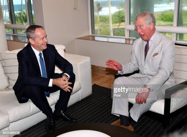 Prince Charles Prince of Wales talks to the Australian Leader of the Opposition Bill Shorten at the Sheraton Grand Mirage Resort on April 5 2018 in...