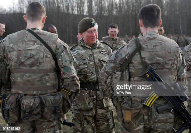 Prince Charles Prince of Wales talks to troops during a training exercise on a visit to The Mercian Regiment Barracks on February 9 2018 in Bulford...