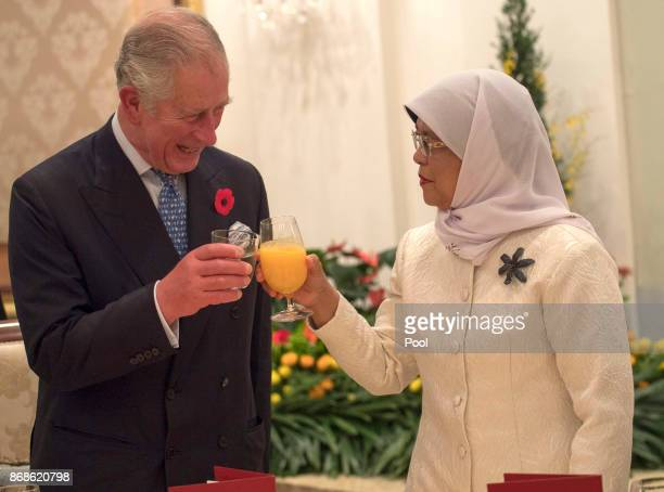 Prince Charles Prince of Wales toasts with Singapore President Halimah Yacob at a reception and dinner at the Istana Presidential Palace on October...
