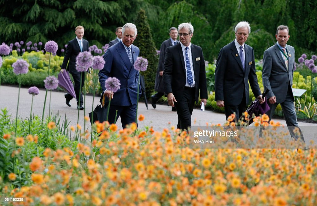 Prince Charles, Prince of Wales tours the Great Broad Walk during a visit to the Royal Botanic Gardens on May 17, 2017 in London, England. Prince Charles, Prince of Wales attended the launch of the annual State of the World's Plants report and viewed the Great Broad Walk Borders at the Royal Botanic Gardens, Kew.