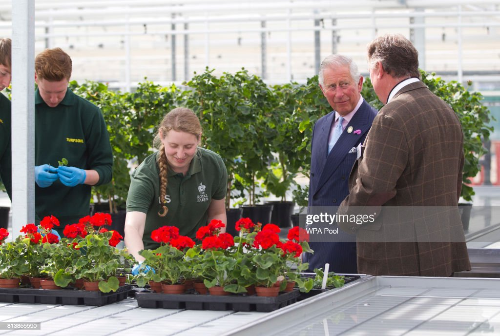 Prince Charles, Prince of Wales tours the nursery inside the park wich is the size of a football pitch as he launches new charity The Royal Parks, of which he is a patron, at Hyde Park on July 13, 2017 in London, United Kingdom.