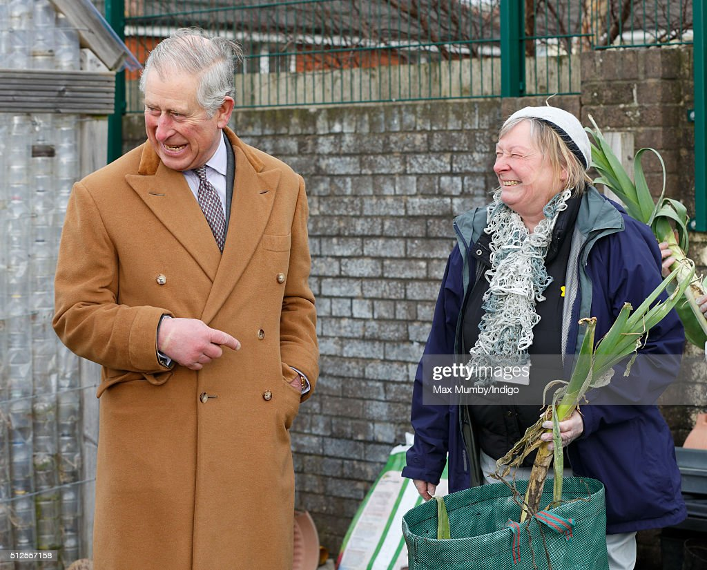 Prince Charles, Prince of Wales tours the vegetable garden as he visits Stebonheath Primary School during a day of engagements in Wales on February 26, 2016 in Llanelli, Wales.