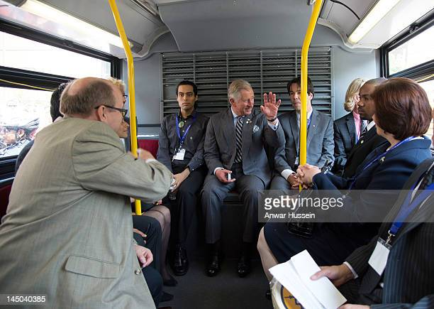 Prince Charles Prince of Wales travels by bus from Yonge Street Mission to the UforChange site on day 2 of an official Diamond Jubilee Tour of Canada...