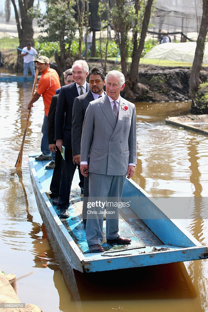 Prince Charles, Prince of Wales travels on a punt as he visits a 'Chinampas' or Floating Farm just outside Mexico City on November 3, 2014 in Mexico City,Mexico. The Royal Couple are on the second day of a four day visit to Mexico as part of a Royal tour to Colombia and Mexico.