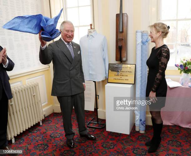 Prince Charles, Prince of Wales unveils a commemorative plaque to mark his visit at the Emma Willis LTD factory while Emma Willis is watching on...