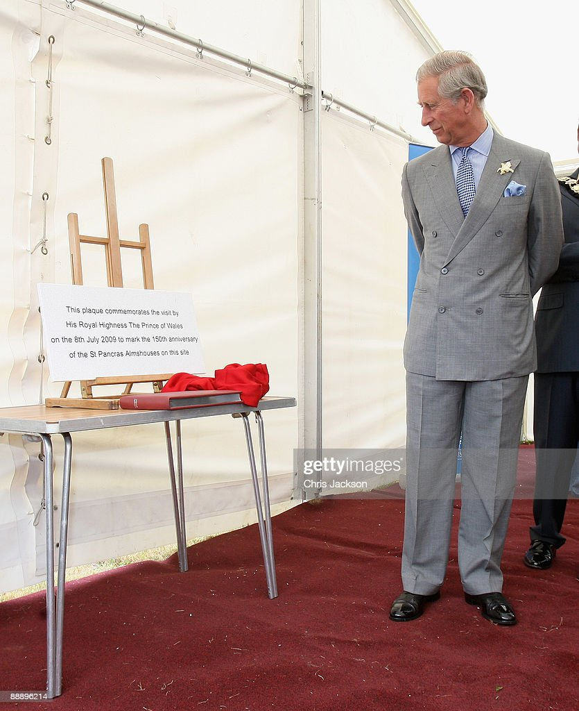 Prince Charles, Prince of Wales unveils a plaque as he visits St Pancras Almshouses on July 8, 2009 in London, England. The Prince of Wales, patron of The Almshouse Association, presented the Patron's Awards and met residents and community leaders to celebrate the 150th anniversary of the Almshouses.