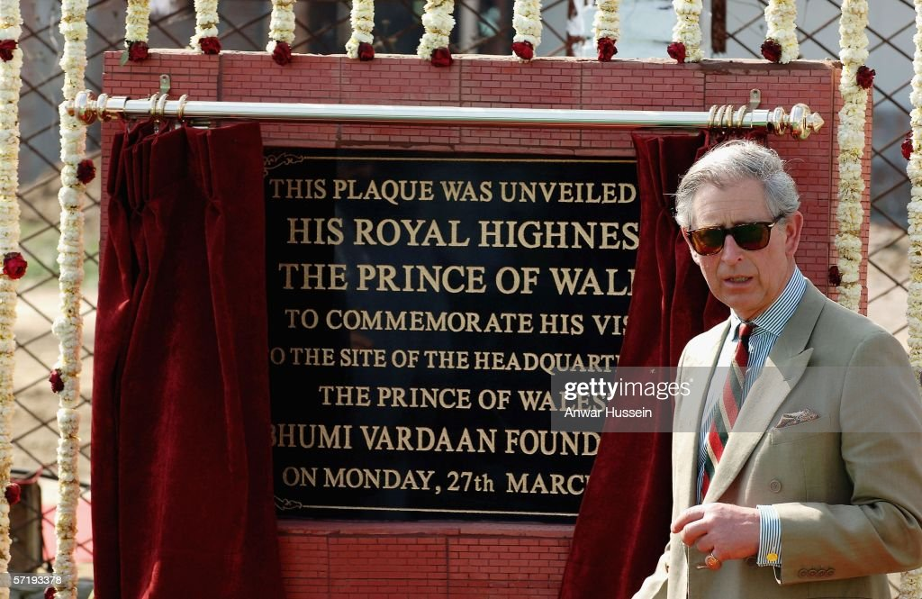 Prince Charles Prince of Wales unveils a plaque at the Punjab Agri Food Park on the eighth day of a 12 day official tour visiting Egypt Saudi Arabia..